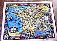 LOVELY VINTAGE CARTOON MAP OF FRANCE VERY DECORATIVE DETAILED 1936