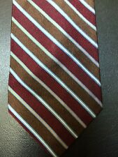 Brooks Brothers 100% Silk Tie Red Brown Woven Stripe