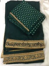 pure silk bottle green saree indian designer bollywood silk blouse lace border
