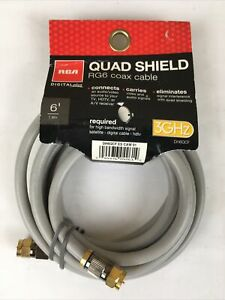 RCA DH6QCE Quad Shield RG6 6 Feet 1.8 Meter Coax Cable 3GHz HDTV Gold Plated Con