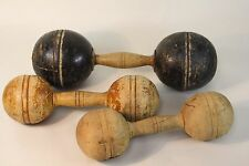 3 Wood Antique Dumb Bell Circus Strongman Dumbbell Weights Exercise Equipment