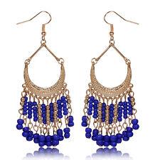 Womens Vintage Bohemian Blue Beads Fringe Drop Dangle Hookie Hook Long Earrings