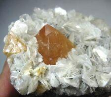 Pyramid Yellow Scheelite on Muscovite matrix display minerals China CM371033