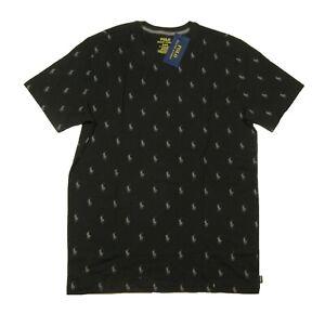 Polo Ralph Lauren Men's Black All Over Pony Logo Graphic Crew-Neck Sleep T-Shirt