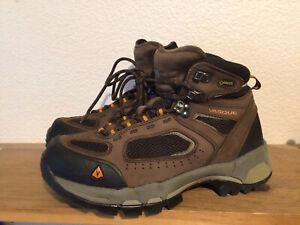 Men's Vasque Brown Black Model 7482 M Size 7 Trail Hiking Gore-Tex Vibram Boots