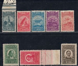 1929/30 BRAZIL, complete set AIRPOST stamps, Mi 318/325 cat.val =74.00€!