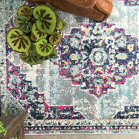 Antique Rugs Classic Distressed Rug for Living Room Stunning Blue Pink Rugs NEW