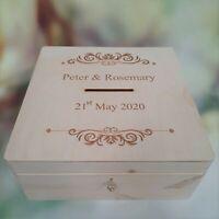 Lockable Wooden Wedding Card Box Personalised Post Box Heart Wishes Slot Box
