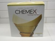 Chemex Bonded Coffee Filters, 100 Natural Squares, Brown Open box missing 4