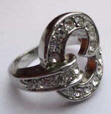 bague bijou vintage rhodié couleur argent poinçonné diamants Crystal Taille 56 p