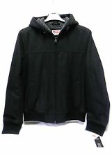 "NWT ""Levis"" Sherpa Lined Wool Blend Hooded Bomber Style Jacket, Black Size Small"