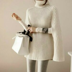 Lady Knitted Sweater Cape Pullover Top Turtleneck Cloak Jumper Loose Casual Chic