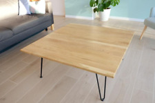 Structure steel design large oak square coffee table FOR FAMILY
