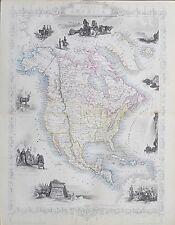 c1854 NORTH AMERICA USA Genuine Antique Map by Rapkin Outline Hand Colouring