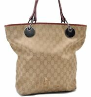 b9a724296 Authentic GUCCI GG Pattern Canvas Leather Olive Tote Bag GT9651L   eBay
