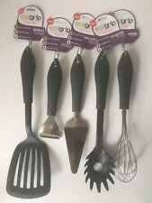 Eazigrip 5 Piece Kitchen Utensil Set Black Slotted Turner Peeler Whisk Tools