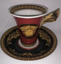 Rosenthal Versace Medusa Espresso Cup W/ Saucer Red W/gold Wing NIB 4 Available