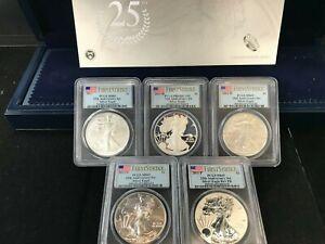2011 25th Anniversary 5-Coin Silver Eagle Set Graded PCGS MS69, PF69, REV PF69