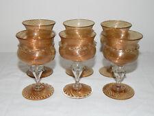 SUPERBE 6 Verres de MURANO VENISE Fait Main avec Liseré or XVIIIème Siècle GLASS