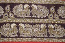 Vintage Two Peacock Dgn Art Silk Saree Wrap Decor Printed Sari Fabric Craft