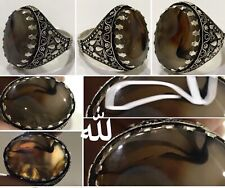 Silver Yemeni Aqeeq Men Ring, Photo Natural -name of God (Allah, لله) Rare