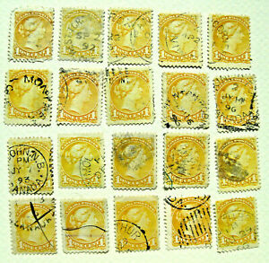 Canada Postage Stamps Lot of 20 Pieces 1 Cent 1870 - 1894 Queen Victoria