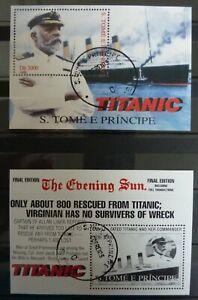 S. Tome und Principe - Titanic - Block 1998 gestempelt - B1 und B2