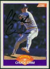 Original Autograph of Chuck Crim of the Milwaukee Brewers on a 1988 Score Card