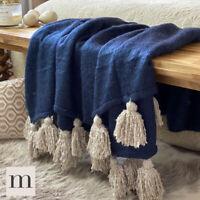 Luxury Large Soft Woollen Feel Navy Blue / Linen Tassel Sofa Bed Blanket Throw