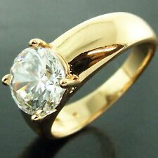 FSAN492 GENUINE REAL 18K YELLOW G/F GOLD 1CT DIAMOND SIMULATED LADIES DRESS RING