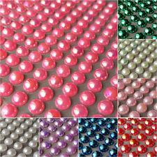 250 x 6mm Self Adhesive half PEARLS flat back  Rhinestone Gem Sticker Mettallic