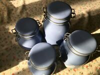 4 VTG Blue Canister w/ Lid Hens Design Treasure Craft Auntie Em Country HMK 1986