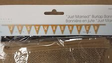 Just Married Burlap Banner Bunting Flag for Rustic Wedding Decoration 12.5' x 9""