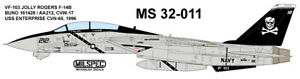 MILSPEC DECAL, MS 32-011, 1/32 SCALE, F-14B TOMCAT, VF-103 JOLLY ROGERS