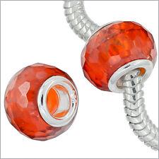 Sterling Silver CZ Fire Opal / Orange Charm Bead Fit European Bracelet #94086