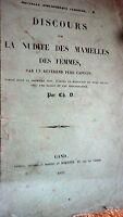 SEINS  DISCOURS SUR LA NUDITÉ DES MAMELLES DE FEMMES 1857