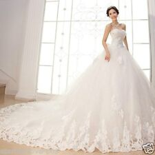 New White/Ivory cathedral Wedding dress Bridal Gown Size 4-6-8-10-12-14-16-18+