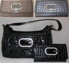 Guess Jenn Croco Print Banana Bag Purse Small Shoulder Satchel Sac Wallet Set