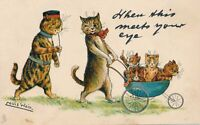 Louis Wain Signed Cats and Kittens When This Meets Your Eye Tuck PC-udb-1905