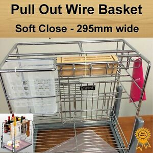 Soft Close Pull Out Pantry Organiser Kitchen Cabinet Storage Wire Basket 295mm