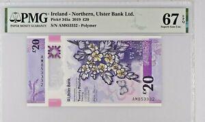 Northern Ireland 20 Pounds 2019 P 345a PMG 67 EPQ Superb GEM UNC BNOY runner-up