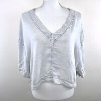 BDG URBAN OUTFITTERS UO LIGHT CHAMBRAY DENIM WASH V-NECK CROP TOP BLOUSE SIZE L