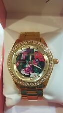 Betsey Johnson Red Flowers Gold Crystal Bezel Bracelet Watch BJ00048-189 $69 NWT