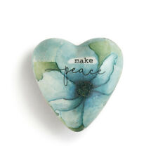 DEMDACO Brave Girl Floral Green 2 x 2 Resin Stone Collectible Art Heart Token Figurine