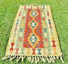 Turkish Antique Anatolian Handmade Kilim Weave Wool Cappadocian Runner Rug 3x6ft