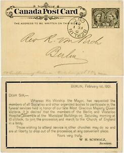CANADA 1901 QV MOURNING DOUBLE HEAD STATIONERY CARD BERLIN + WATERLOO HOSPITAL