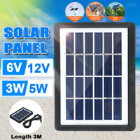 5W 6V/12V Mini Solar Panel Battery Charger For RV Boat Camping Outdoor 3m