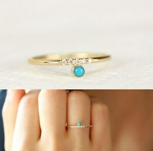 Dainty Gold Turquoise Ring delicate small stacking geometric Art Deco knuckle