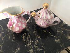 Mackenzie Childs Pink Rose Petal Honeymoon Sugar Creamer & Spoon - HTF & NLA
