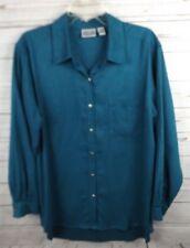 Chicos Moleskin Shirt Top Size 3 Teal Green XL Long Sleeve